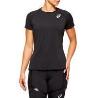 Asics Womens Knit Short Sleeve Running T Shirt Tee Top - Black Sports Breathable