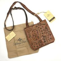 NWT Patricia Nash Granada Brown Leather Studded Link Perf Flap Crossbody Purse