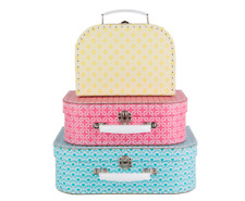 Sass & Belle Set of 3 Small Moroccan Geometrics Suitcases Storage Boxes Cases