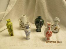 6 Miniature Porcelain / Ceramic Vases 1980 FP Japan 3.25 Inches Japanese Motifs