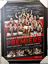 SYDNEY ROOSTERS SIGNED 2018 PREMIERS PRINT FRAMED - NRL KEARY CRONK