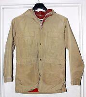 "Vtg Woolrich ""60/40 Mountain"" Tan Plaid Wool Lined Parka Jacket Mens SZ L"
