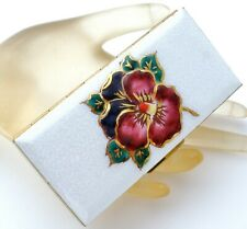 Vintage White Enamel Flower Cigarette Case Coin Vanity Lucite Purple Pansies New
