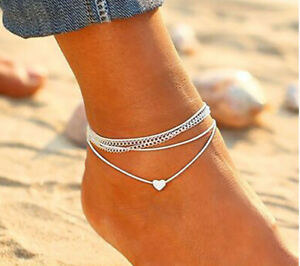 Pair Silver Heart Ankle Bracelet Wrap Womens Anklet Bracelet Adjustable ChainUK