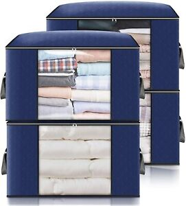 4 Pack 90L Large Capacity Clothes Storage Bags,Foldable Storage Bags for Clothes