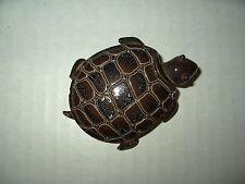 Large Vintage Estate Goldtone & Brown Enamel Turtle Tortoise Brooch Pin