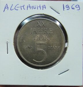 934# DEUTSCHLAND DDR  5 MARK 1969  KM#22.1   NICE COIN