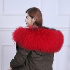 "Real Red Mongolian Fur Collar Hood Trimming Scarf 31.5"" 80x25cm Fur Scarf"