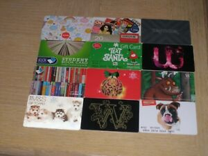 U K Miscellaneous    12 different new and used collectible gift cards