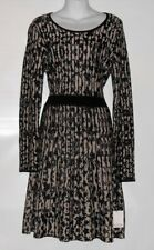 Calvin Klein Dress Fit & Flare Long Sleeve Knit Sweater Dress Black & Taupe M