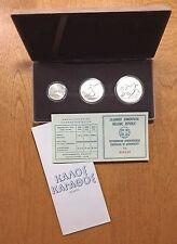 1981 500 250 100 Drachmai GREECE Silver Uncirculated Olympic 3-Coin Set  BOX COA