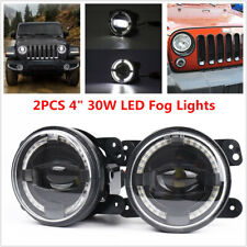 "2PCS 4"" 30W LED Round Fog Light White Angel Eyes Halo Ring Lamp 2000LM Projector"
