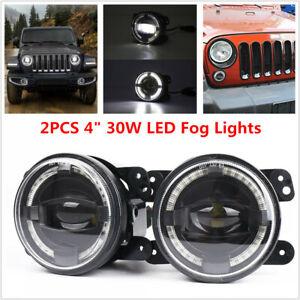 "2PCS 4"" 30W LED Round Fog Light White Angel Eyes Halo Ring Lamp 2000LM Projector"