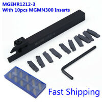 10 Pcs MGMN300 Carbide Inserts W/ MGEHR1212-3 Lathe Cut Off Grooving Tool Holder