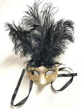 Elegante Maske aus Venedig * mit Federn * schwarz gold * Augenmaske * wie NEU *