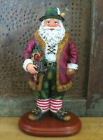 GERMAN SANTA Claus w CUCKOO CLOCK Resin Father Christmas Figure Decoration