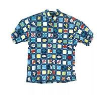 Tori Richard Mens Small Hawaiian Button Up Shirt Short Sleeve Cotton Blue Floral
