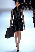 AKRIS  Black Sleeveless Paneled Calf Hair Dress Sz:8 Retail $7,950 NEW