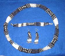 Beaded Necklace Bracelet & Earrings  Set New  Black White & Gray RW8