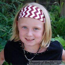 BonEful RTS NEW Boutique Girl Maroon White Chevron Fabric Headband Alabama Retro
