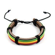Rasta Stripe Leather Band Bracelet Wrist Bracelet Cuff Jah Reggae Marley IRIE