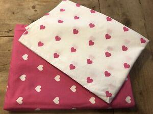 Organic Pottery Barn Kids Bright Pink HEART Toddler Duvet and Pillowcase
