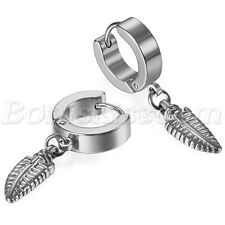 Mens Women Stainless Steel Feather Drop Dangle Huggie Hinged Hoop Studs Earrings