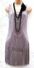 Warehouse Size 12 14 Flapper 20s Gatsby Flapper Tassle Fringe Lace Dress US 8 10