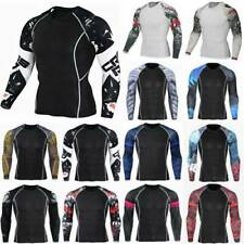 Men Thermal Compression Long Sleeve Armour Basic Layer Top Sports Gym T-Shirt