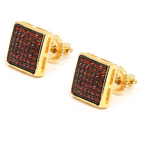 Mens 14K Gold Plated Red CZ Micro Pave Hip Hop Dome Stud Earrings