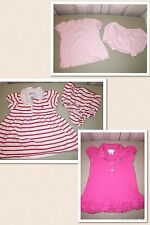 USED RALPH LAUREN 6 MO DRESS LOT LIGHT PINK RED WHITE LAYETTE POLO 3 DRESSES