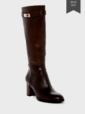 *5.5 M Halston Heritage Ava Buckled Tall Leather Side Zip Boots Brown $795