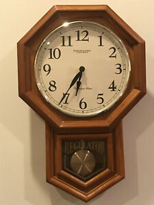 Sterling and Noble REGULATOR Wall Clock Solid Wood Frame with Swinging Pendulum