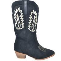 Stivali donna camperos texani stile western effetto scamosciato nero con cucitur