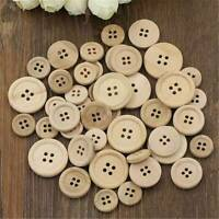50x DIY 4-Holes Mixed Wooden Buttons Natural Color Round Sewing Scrapbooking