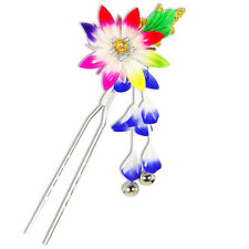 Japanese Hair Ornament Kanzashi Rainbow Flower Blue Wisteria Bells Small Prong