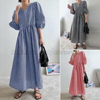 ZANZEA Women Summer Loose Casual Long Midi Dress V-Neck Short Sleeve Sundress US