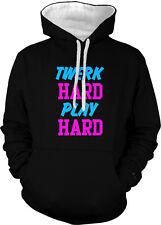 Twerk Hard Play Hard Work Dance Sexy Song Club Bounce Two Tone Hoodie Sweatshirt
