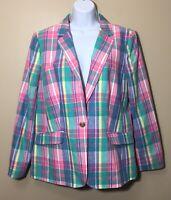 NEW Talbots Size 14 Teal Blue Pink Plaid Preppy Linen Blend Blazer Jacket