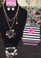 3 PC BETSEY JOHNSON BLACK OCTOPUS W/CRYSTALS PEARLS NECKLACE EARRINGS BRACELET