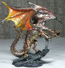 21cm Dragon Figurine w Celtic Cross Gold & Orange DRAGROCK A New 9319844387491