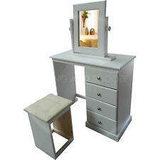 HAND MADE CAMBRIDGE 4 DRAWER DRESSING TABLE WITH STOOL AND MIRROR(ASSEMBLED)