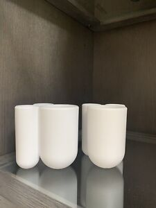 Umbra Touch Collection Toothbrush Holder Three Compartment, White EUC set of 2