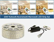 2-50 Meter 230V LED Warmweiß Kaltweiß Neutralweiß Strip Streifen 144 LEDs/M IP67