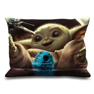 "Cute Baby Yoda Star Decorative Zippered Pillow Case 16"" x 24"" Inch Cushion Cover"