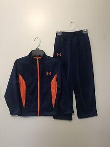 Under Armour Boy's Navy Blue & Orange Jacket & Pants Outfit Set Size 6