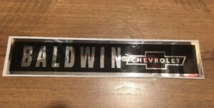 Baldwin Chevrolet Trunk Rear Pan Label 1967-1974 Right Font And Size Chrome