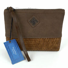 SIMPLY VERA WANG Faux Leather & Woven MUSHROOM BROWN WRISTLET Clutch JET GRAY