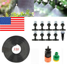 33FT Outdoor Misting Cooling System Garden Irrigation Water Mister Nozzles Set