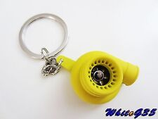 NEW YELLOW SPINNING TURBO TURBOCHARGER KEYCHAIN KEY CHAIN T3 T4 T25  KEYRING